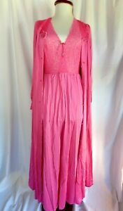 Hot Pink Shadowline long Peignoir gown & robe, Petite small, nylon, Vintage