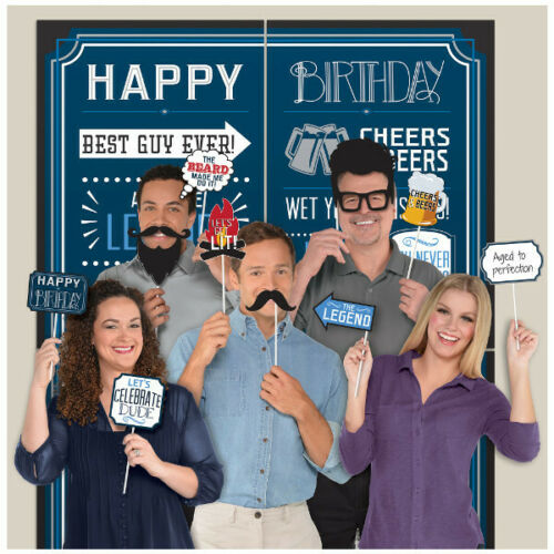 HAPPY BIRTHDAY MAN SCENE SETTER Party Wall Decoration Photo Booth Props Beard