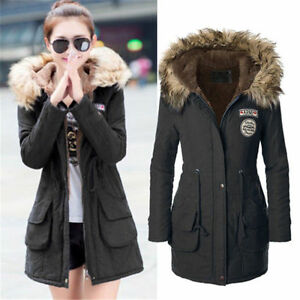 Image is loading Womens-Warm-Long-Coat-Fur-Collar-Hooded-Quilted-