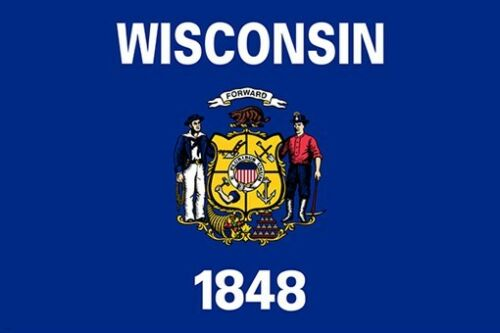 WISCONSIN official state flag poster SYMBOLIC POLITICAL HISTORIC 24X36 new