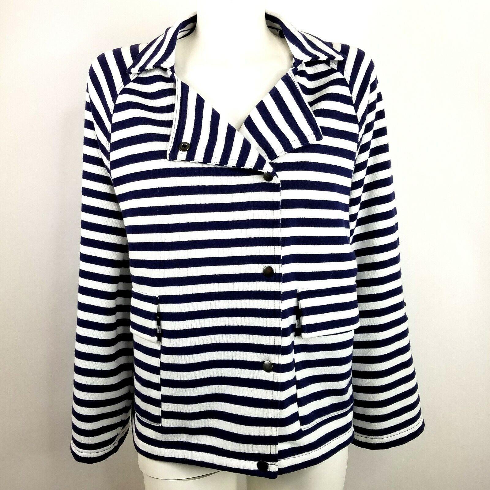 Liz Claiborne Knit Cardigan Sweater bluee White Stripe Snaps Soft Comfy Size L