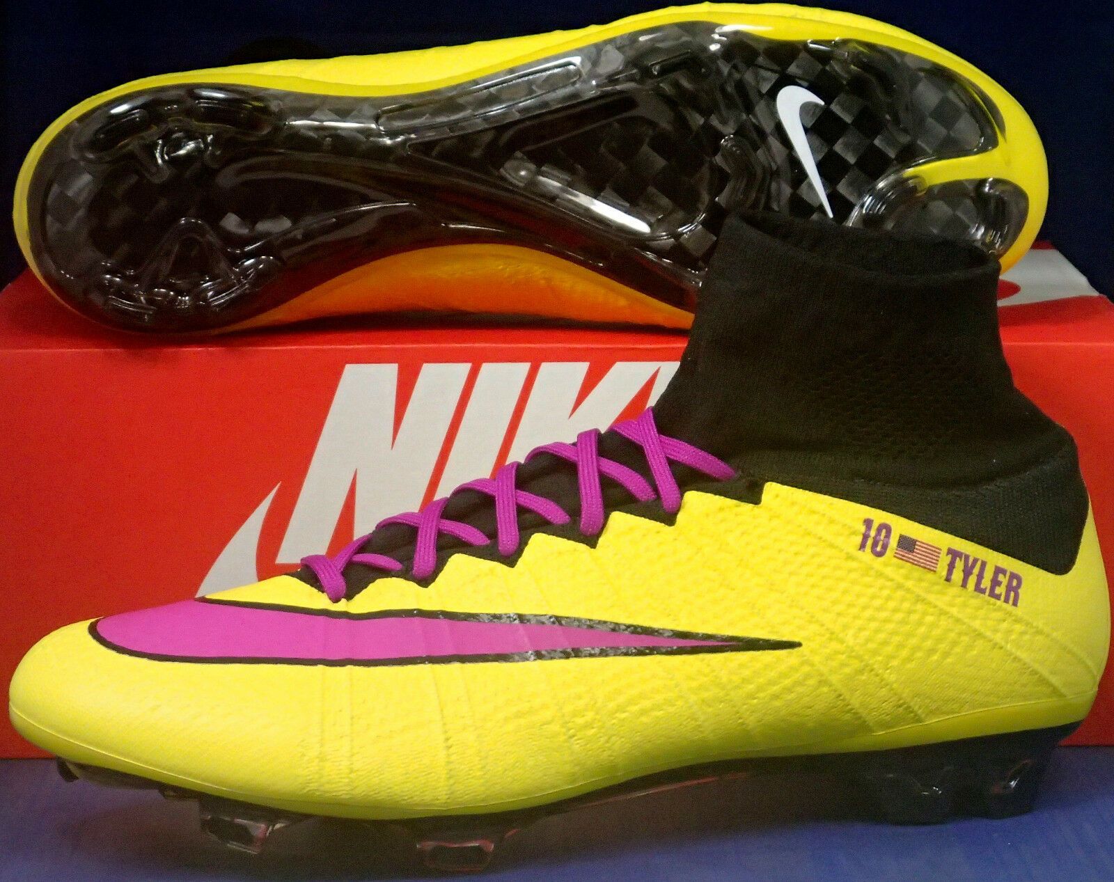 Nike Mercurial Superfly FG iD Yellow Fuchsia Black Boots SZ US 11.5 (651789-981)