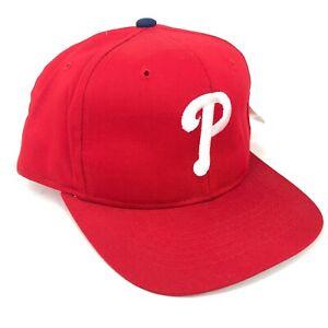 Vintage-Philadelphia-Phillies-New-Era-Joven-Talla-Gorra-Plana-Rojo-90s-DS