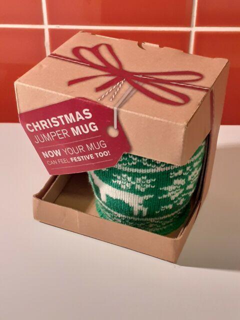 CHRISTMAS Jumper Mug Reindeer Knitted Sleeve Ceramic Xmas Christmas Gift