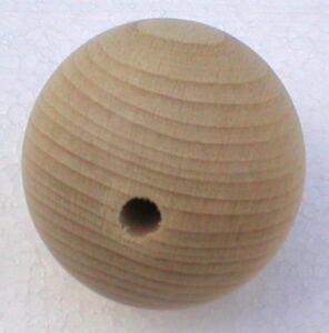 Holzkugeln-40-mm-Kugel-mit-halber-Bohrung-Buche-natur-Rohholzkugeln