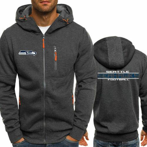 Seattle Seahawks Rugby Team Hoodie Zipper Print Sweatshirt Football Jacket Coat