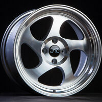 17x9 Jnc Jnc034 034 4x100 25 Silver Machine Face Wheel Set(4) on sale