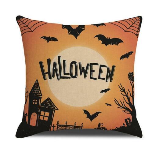 Halloween Pillow Cases Linen Sofa Pumpkin Ghosts Skull Cushion Cover Home Decor