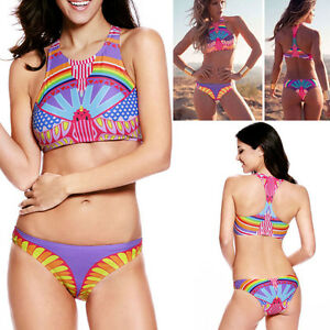 0b949052e96b8 2017 Neon Swimsuit Bikini Halter Pad Top Aztec Geometric High Neck ...