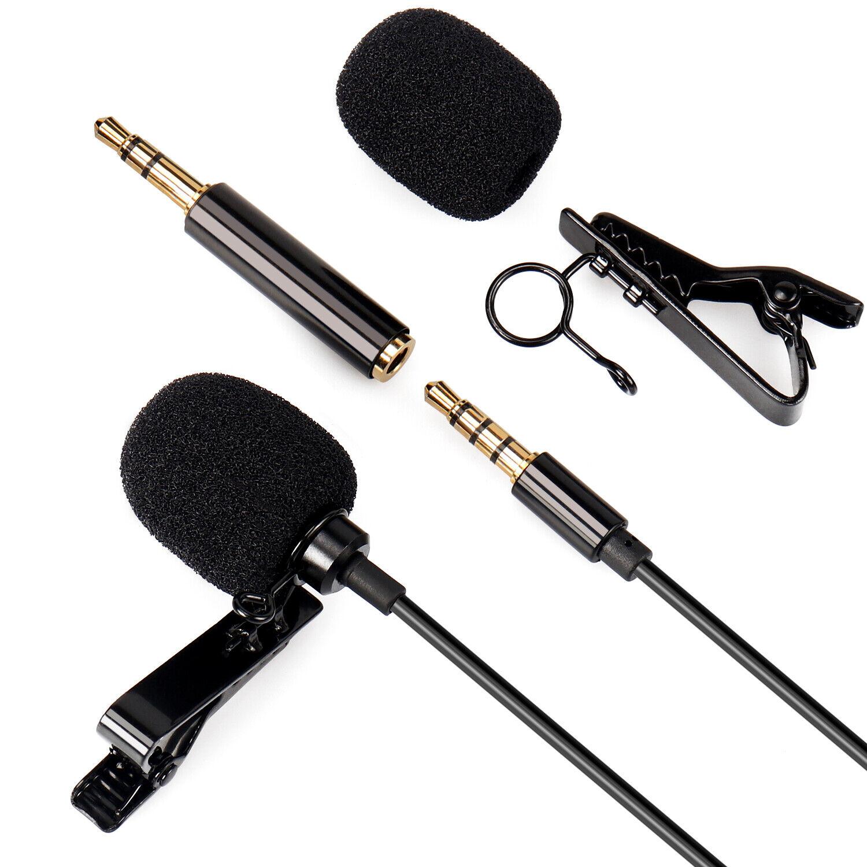Lavalier Clip-on Lapel Microphone TRRS 3.5mm AUX for Recording Interviews, Phone