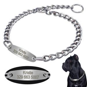 Servicio-Pesado-Perro-estrangulador-collar-de-cadena-amp-Tag-grabada-para-grandes-razas-Pitbull