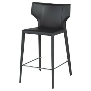 Amazing Details About 20 5 W Set Of 2 Bailey Bar Stool Fully Upholstered Dark Grey Leather Modern Unemploymentrelief Wooden Chair Designs For Living Room Unemploymentrelieforg