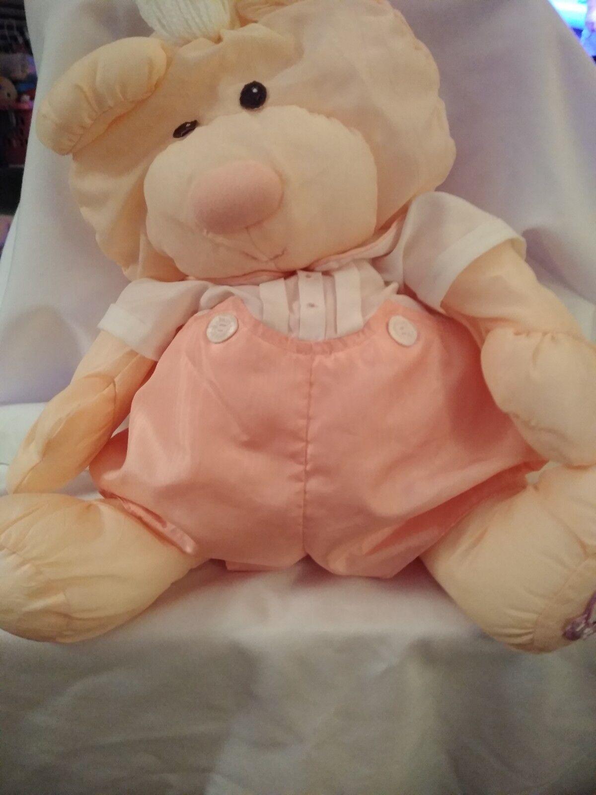Vintage 1986 Fisher Price Puffalump Puffalumps Peach Bear Plush Doll
