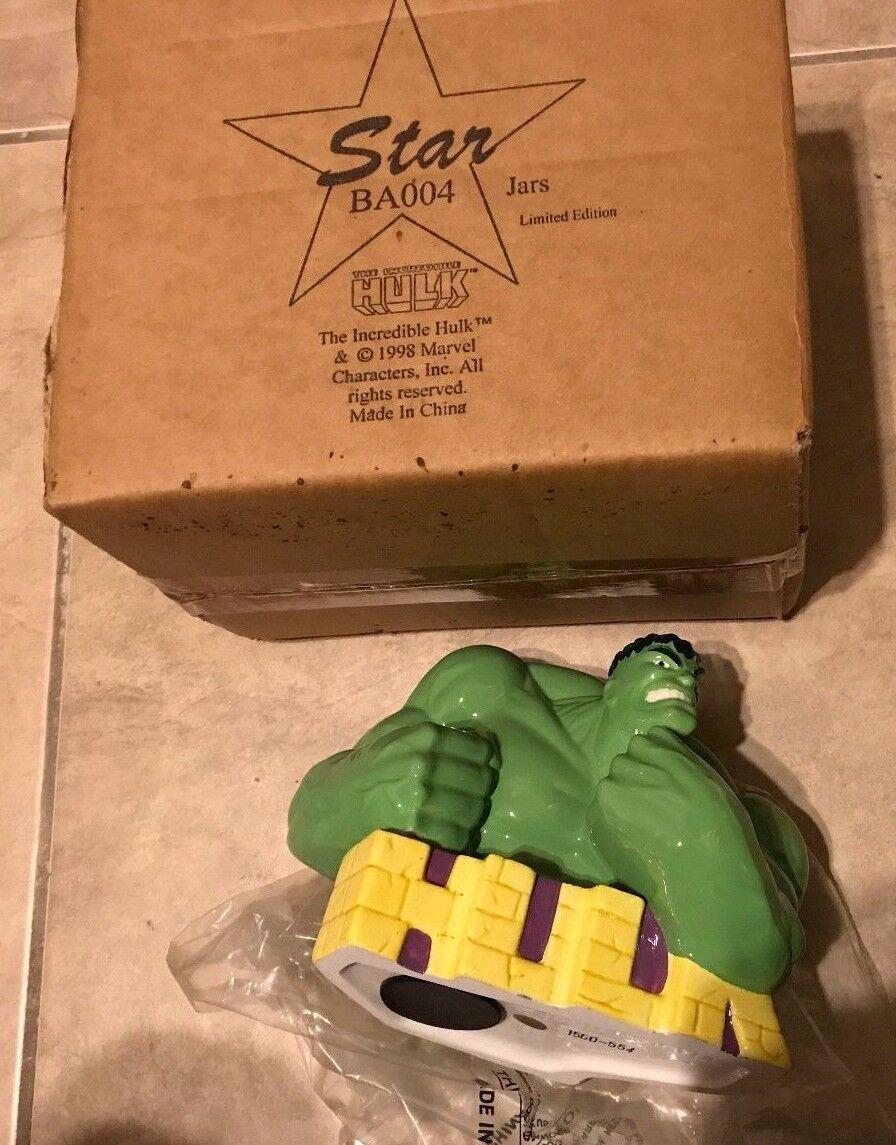1998  Hulk Marvel Ceramic Coin Bank autoautobust estrella Jars Limited edizione nuovo in scatola  sconto online