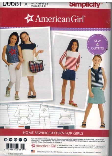 D0681 Uncut Simplicity Nähmuster American Girl Marke Mädchen Hosen ...