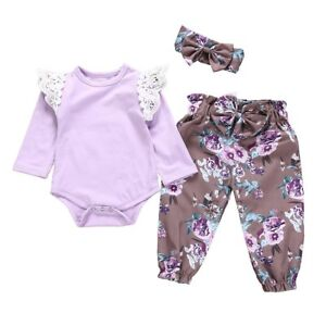 165aed78651e 3PCS Newborn Baby Girls Bodysuit Romper Tops+Floral Pants+Headband ...
