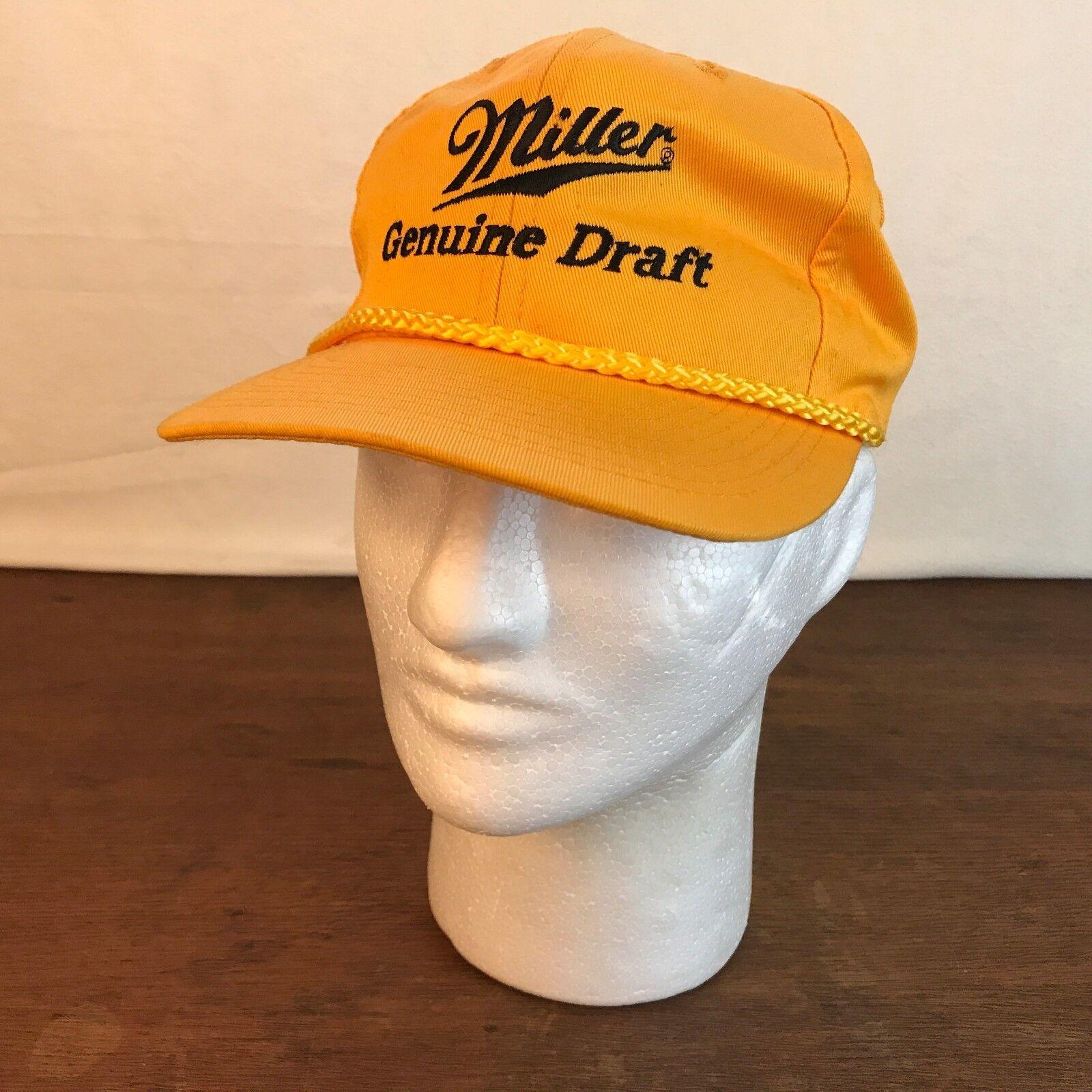 Miller Genuine Draft Snapback Beer Yellow Poly Blend Snapback Draft Cap CH4 7b60ea