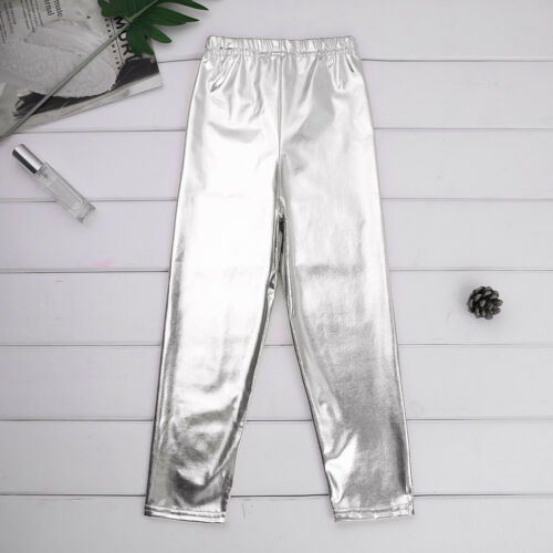 Kid Girls Stretchy Leggings Shiny Pants Dance Gym Leotards Ballet Yoga Trousers