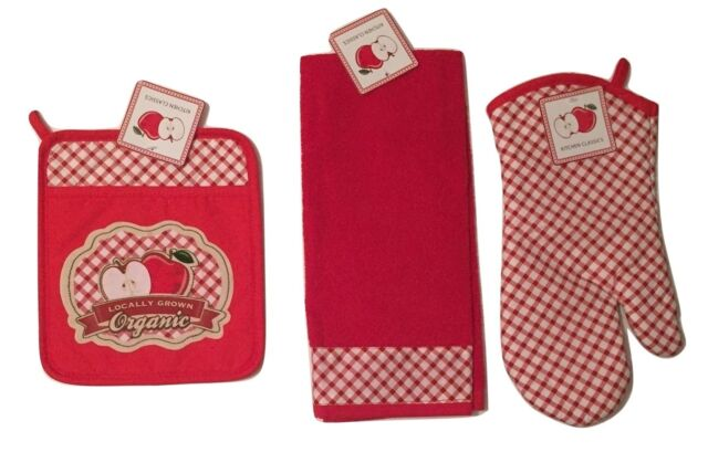 Locally Grown Organic Apples Red Gingham kitchen towel potholder oven mitt set