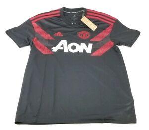 60 adidas men s manchester united home pre match soccer jersey black red large ebay ebay