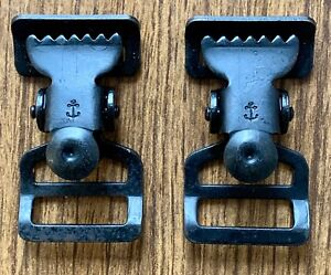Two-WWII-Belt-Clips-for-1-034-Suspenders-and-Belts-With-WW2-Navy-Anchor-Symbol