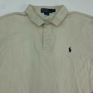 Polo-Ralph-Lauren-Polo-Shirt-Men-039-s-Size-XL-Long-Sleeve-Tan-High-Low-Hem-Cotton