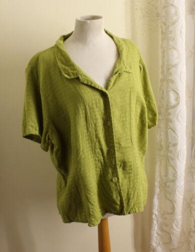 FLAX -Sz M Pistachio Green Art-to-Wear Linen Blous