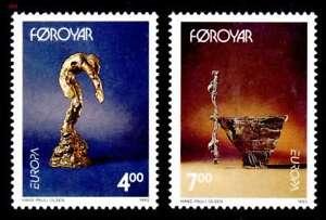 Faroe-Islands-1993-Europa-Art-Bronze-Sculptures-by-Olsen-UNM-MNH