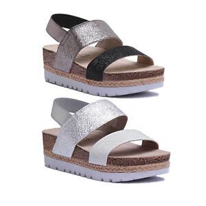 42474c12164c Inblu Platform Elastic Womens Faux Leather White Slide Sandals UK ...