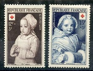 STAMP-TIMBRE-DE-FRANCE-NEUF-N-914-915-CROIX-ROUGE-1951