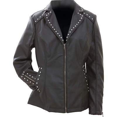 New Womens BLACK JACKET Vegan Faux Leather Studded Tailored Poly Lined Zip Coat
