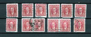 Canada-Lot-E-of-233-034-3c-King-George-VI-Mufti-Issue-034-Lot-of-12-used