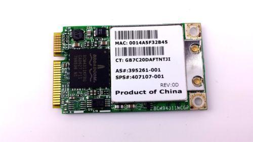 Broadcom BCM94311MCG 802.11b/g PCI-Express Wireless Card PN 407107-001 Tested