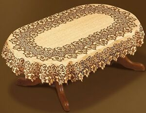 Oval-Lace-Tablecloth-Brown-Wedding-Table-Covers-51-034-x-71-039-039-Cloth-Gift-Present