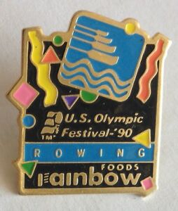 US-Olympic-Festival-1990-Rowing-Olympic-Pin-Badge-Rainbow-Foods-Advertising-F2
