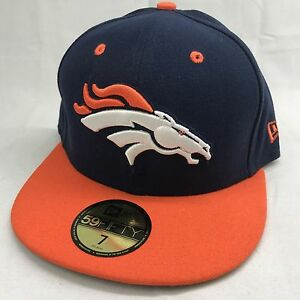 56b70a4cdad Denver Broncos Cap New Era 59Fifty Fitted Sz 7 NFL Embroidered Navy ...