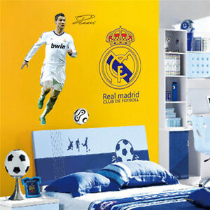 Wall decor c ronaldo real madrid football boy bedroom for Cristiano ronaldo wall mural