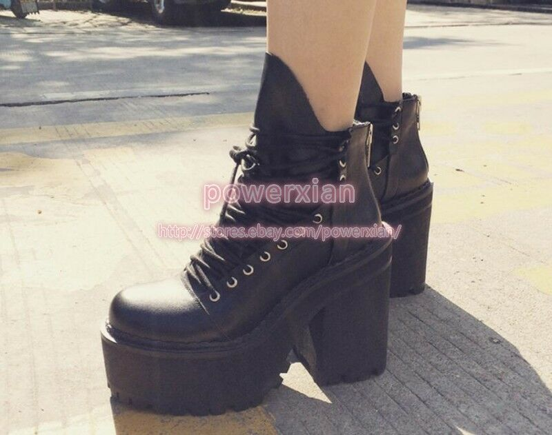 Womens lace up zip platform  rock chunky high heel army ankle boots shoes