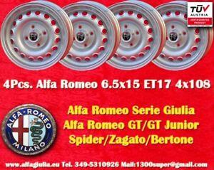 4-Cerchi-Alfa-Romeo-6-5x15-ET17-Giulia-GT-GTA-Wheels-Felgen-llantas-jantes-TUV