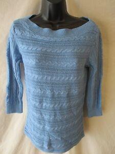 1070217d141 Chaps Linen Blend Size S Solid Blue Cable Knit Crewneck Sweater SR ...