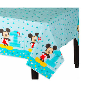 baby boy first birthday mickey mouse table cover party decoration