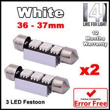 BMW E46 E39 E60 E90 Xenon White LED Number Plate Lights Bulbs 36mm - ERROR FREE