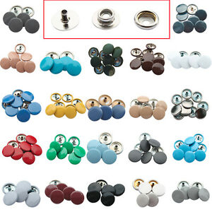 4 Part Press Studs Silver Back with 15mm Color Caps Snap Fasteners for DIY Cloth
