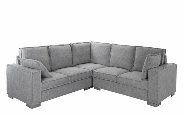 Modern Living Room Linen Fabric Sectional Couch, L-Shape Sofa (Light Grey)