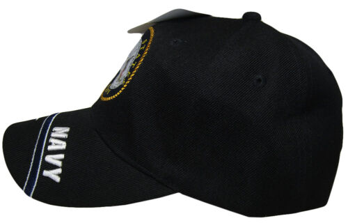 Black US Navy Seal Emblem Crest Splash Swirl Hat Ball Cap