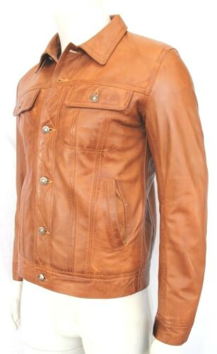 chiaro uomo vitello classico western stile da Winston marrone di di pelle in La trucker giacca nuova 1z0xqwntf