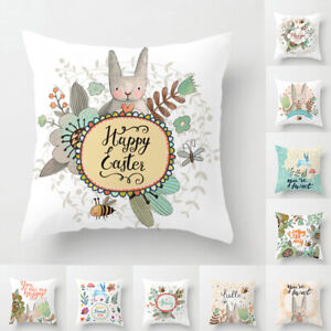 Am-KF-Happy-Easter-Rabbit-Flower-Pillow-Case-Cushion-Cover-Sofa-Bed-Car-Decor
