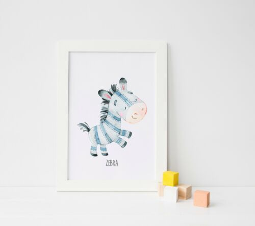 Watercolour Animal Prints Pictures For Nursery Kids Bedroom Boys Girls Room