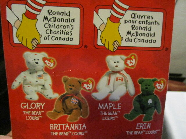 TY BEANIE BABIES Set of 4 4 4 McDonald's  Glory Erin Maple Britannia 1999 w  Errors cbef7b