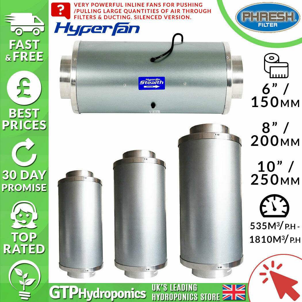 Phresh sigilo hyperfan-silenciado - 6  8  10  Pulgadas - 150 mm 200 mm 250 mm
